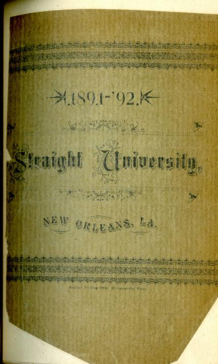 Dillard University - Straight College Catalogue 1891 1892