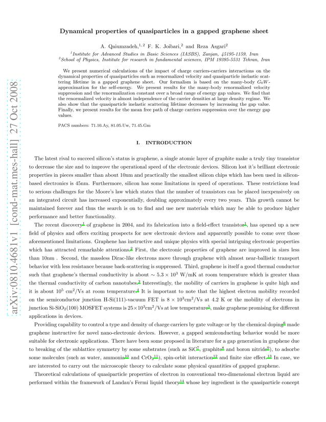 A. Qaiumzadeh - Dynamical properties of quasiparticles in a gapped graphene sheet